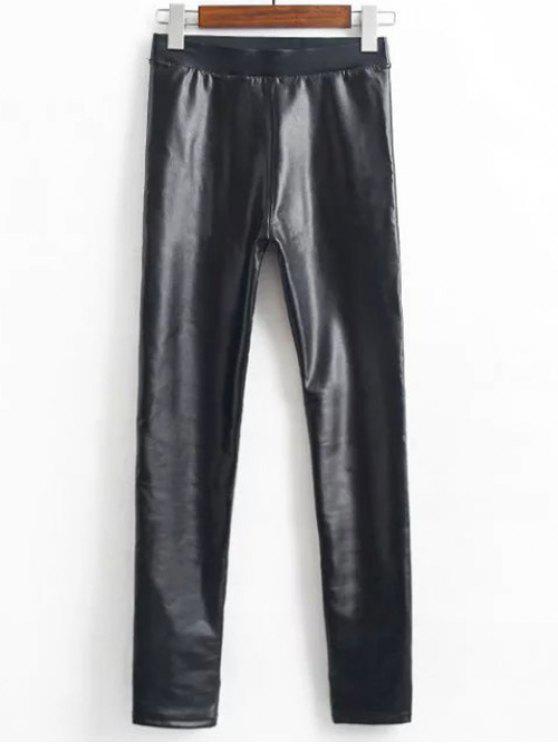 Leggings de couro do velo Faux - Preto XL