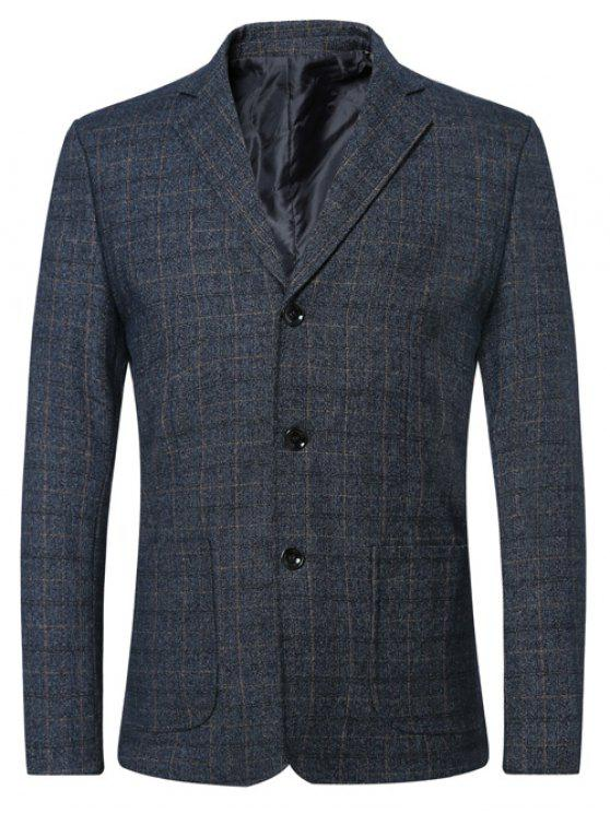 Single Breasted Revers Plaid Langarm Jacke Blazer - Blau M