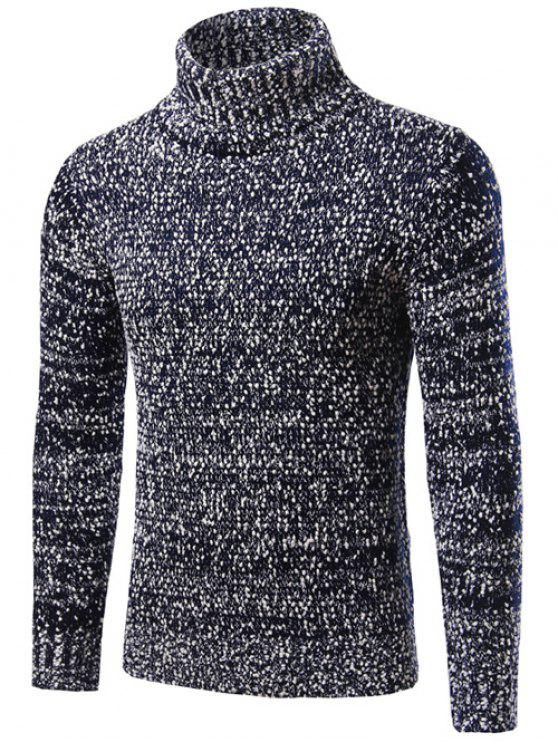 new Heathered Turtleneck Texture Pullover Sweater - CADETBLUE 2XL