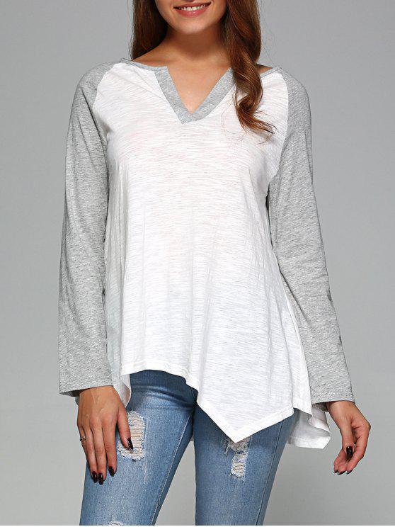 T-shirt à ourlet asymétrique avec manches raglan - Gris et Blanc 2XL