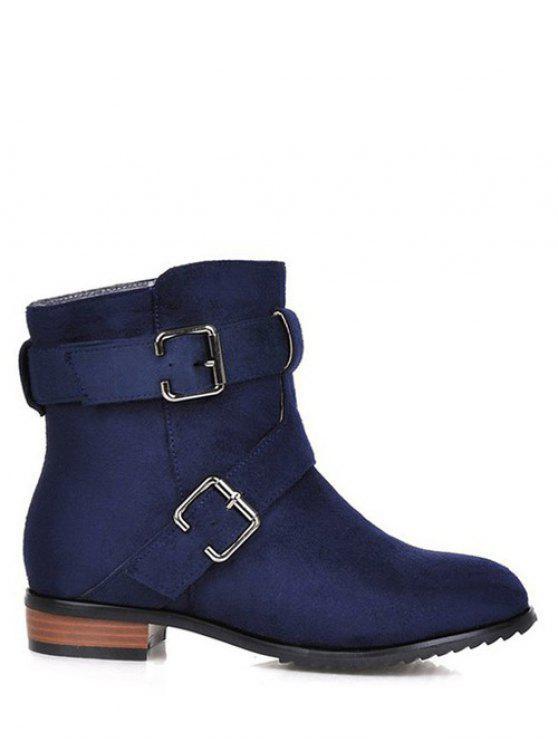 Flache Heel Round Toe Schnallen Short Boots - Dunkelblau 37