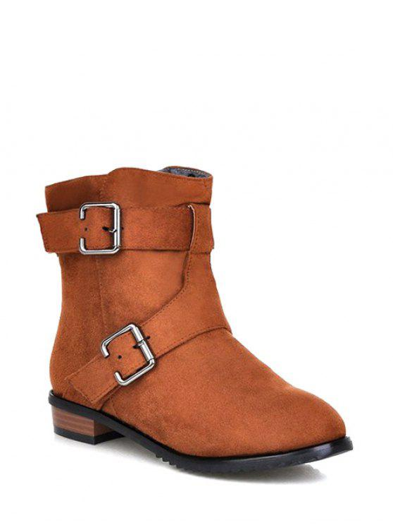 Buckles Flat Heel Round Toe Short Boots LIGHT BROWN