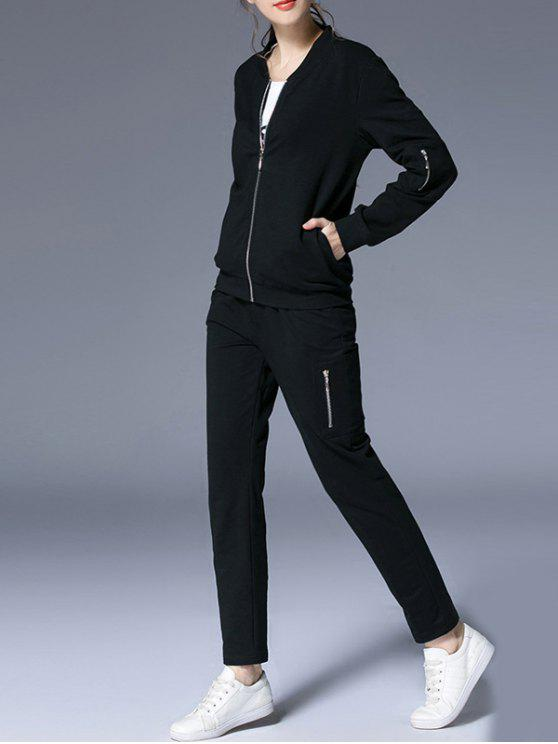 outfits Zip Up Jacket with Pocket and Pants - BLACK 2XL