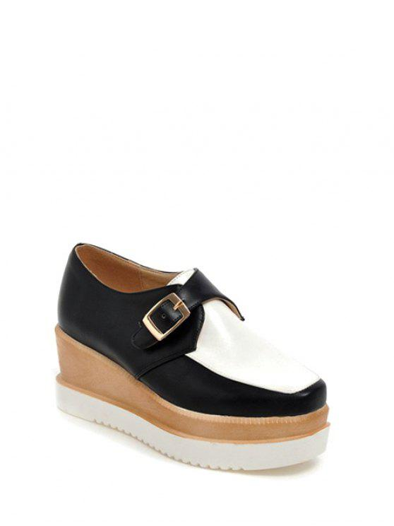 online Buckle Square Toe Color Splicing Wedge Shoes - WHITE AND BLACK 37