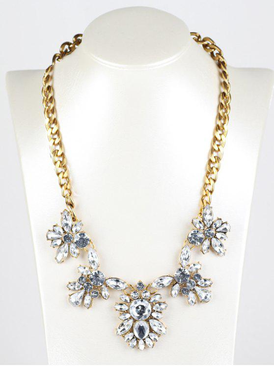 womens Fake Crystal Pendant Necklace - GOLDEN