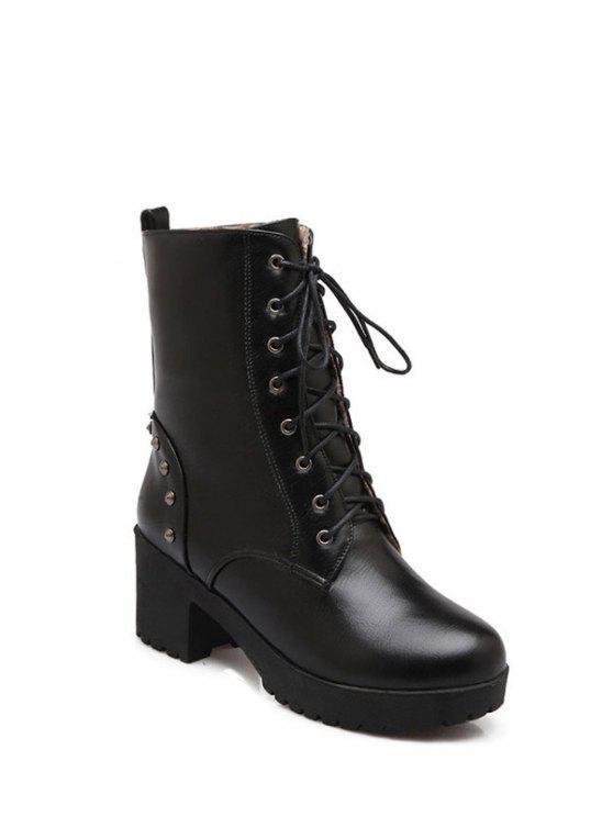 hot Rivets Platform Tie Up Short Boots - BLACK 38