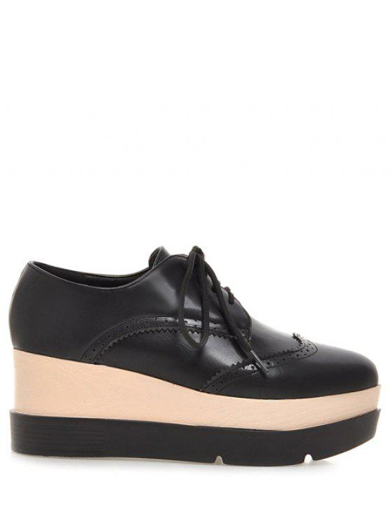 chic Lace-Up Platform Engraving Wedge Shoes - BLACK 38