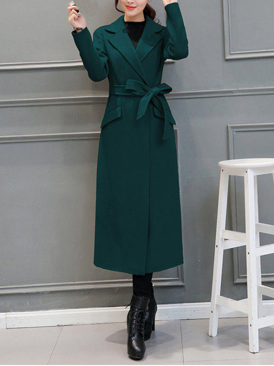 outfit Belted Woolen Blend Maxi Coat - BLACKISH GREEN 2XL