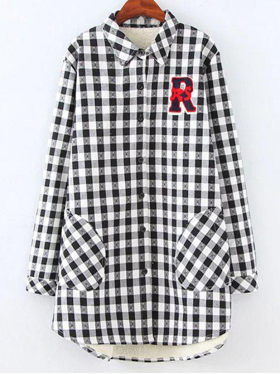 shop Plus Size Fleece Lining Checked Shirt - WHITE AND BLACK 3XL