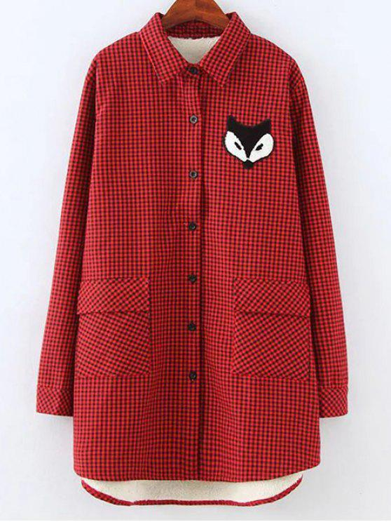fancy Plus Size Fleece Lining Fox Checkered Shirt - RED 4XL