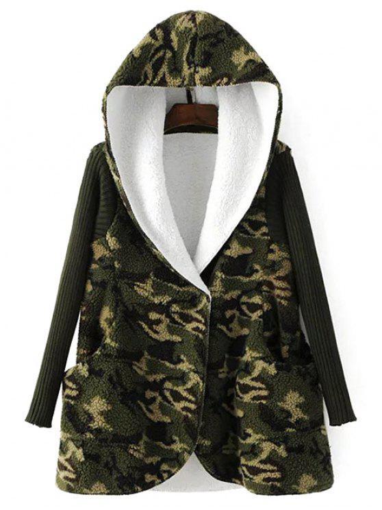 Manteau à capuche imprimé camouflage cotonneux - Camouflage TAILLE MOYENNE