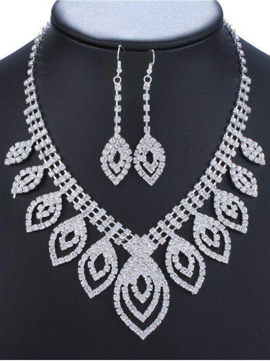 buy Hollow Out Leaves Rhinestone Jewelry Set - SILVER