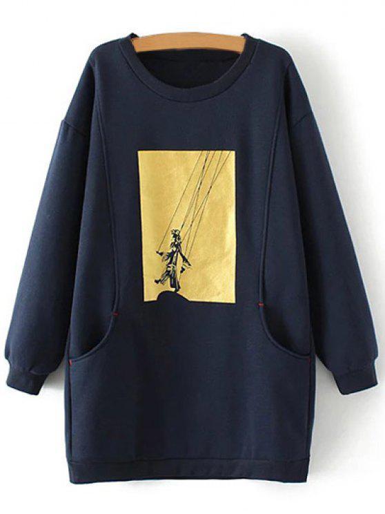 outfits Plus Size Shadow Puppet Long Sweatshirt - CADETBLUE 2XL