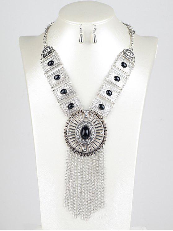 Retro catena Set Fringe gioielli - Nero