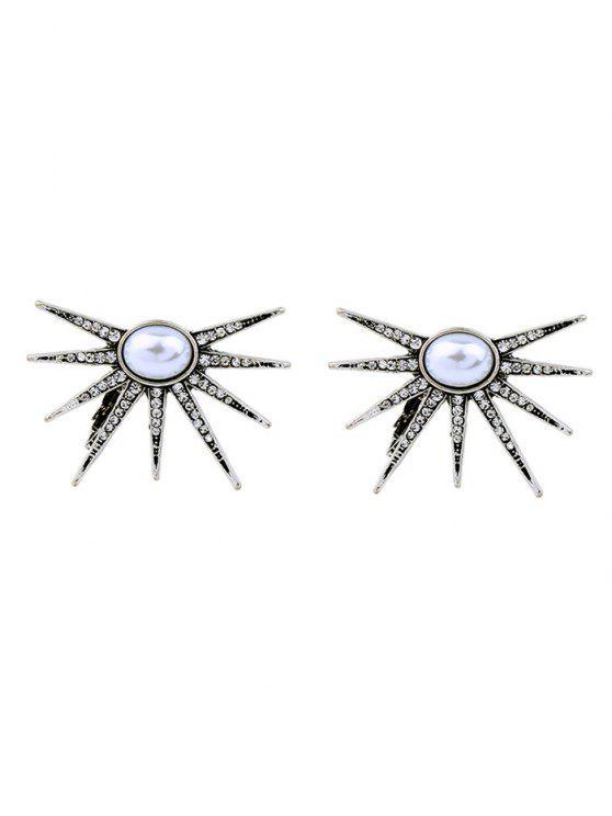 fancy Faux Pearl Rhinestone Floral Ear Cuffs - SILVER