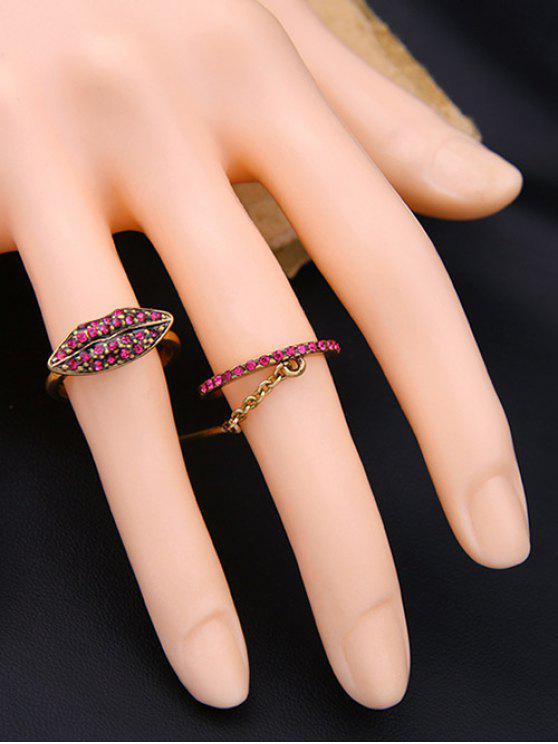 chic Vintage Rhinestone Lips Shape Ring Set - GOLDEN ONE-SIZE