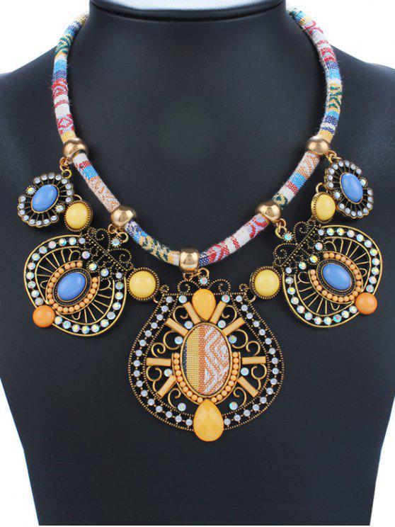 Collar Retro Gemétrico Esmalte y Brillantes - Amarillo
