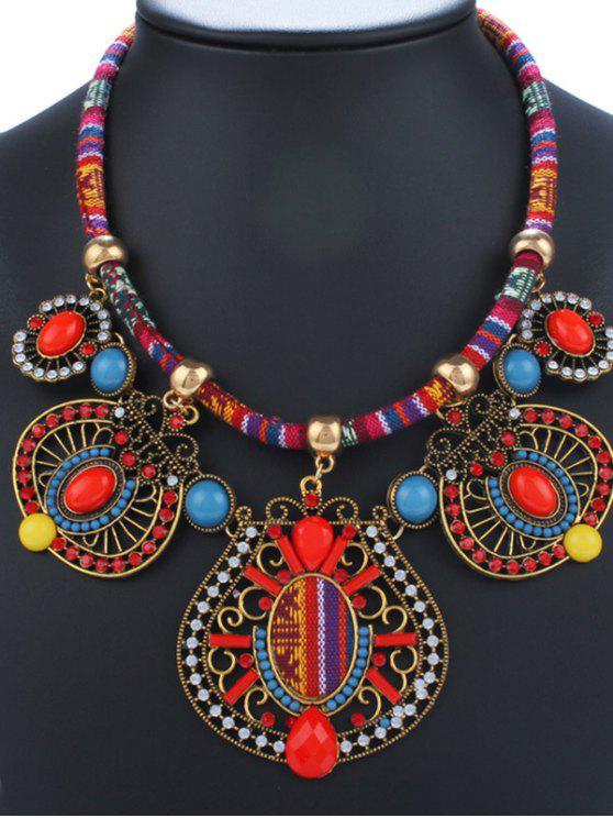 Collar Retro Gemétrico Esmalte y Brillantes - Rojo