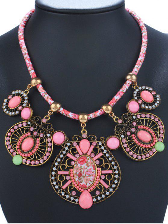 Strass Emaille Geometrische Halskette - Pink