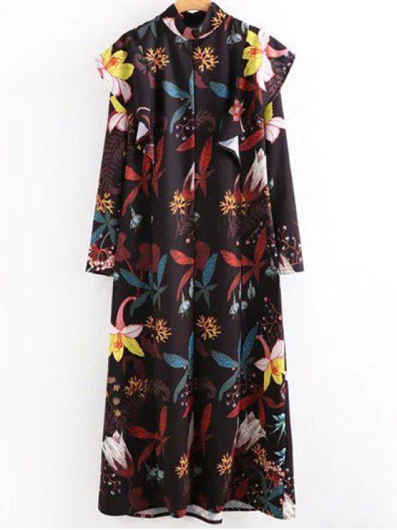 فستان طويل بطبع الزهور بدينيلا و الياقة العالية - Colormix S