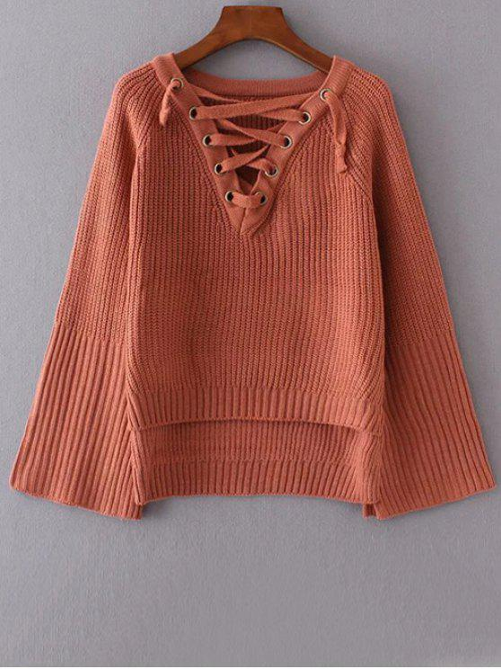 unique High Low Lace Up Sweater - BRICK-RED ONE SIZE