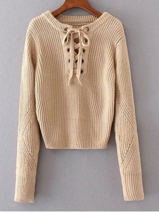 women Round Neck Lace Up Jumper - APRICOT ONE SIZE