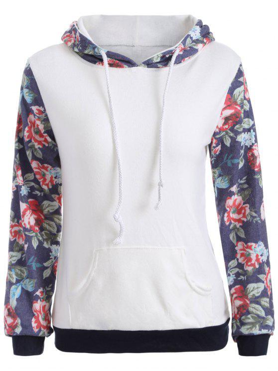 Sudadera con capucha del bolsillo del estampado de flores - Blanco XL