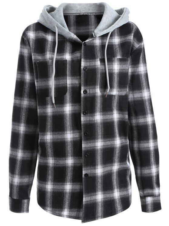 Camisa a cuadros con capucha - Blanco y Negro M