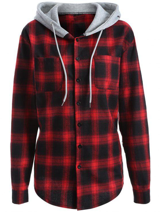 latest Hooded Checked Shirt - RED M