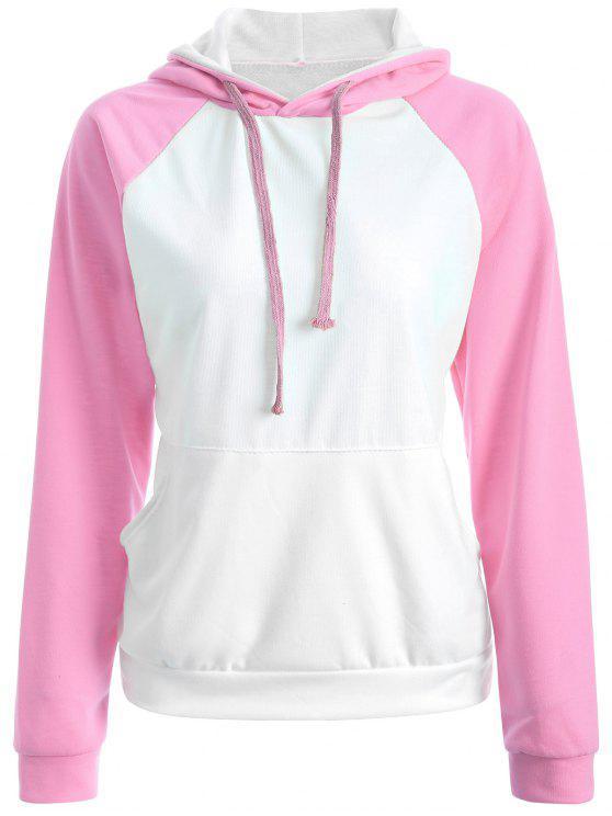 Casual Sweatshirt à capuche Raglan - ROSE PÂLE 2XL