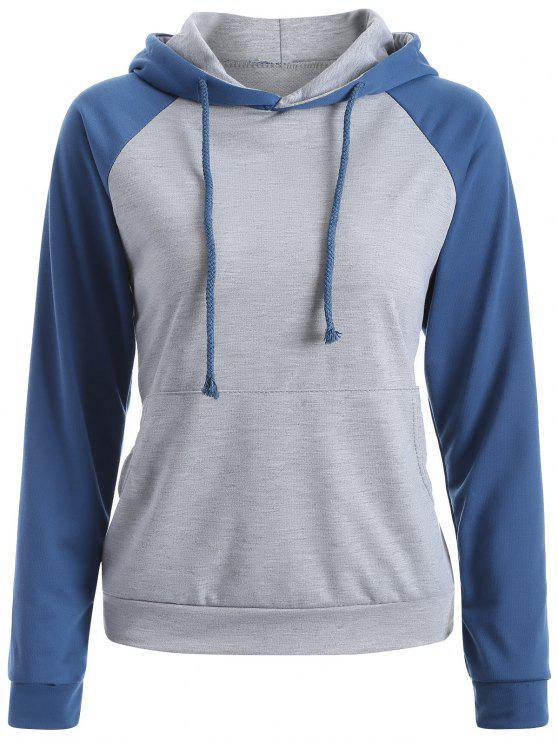 Casual Sweatshirt à capuche Raglan - Bleu M