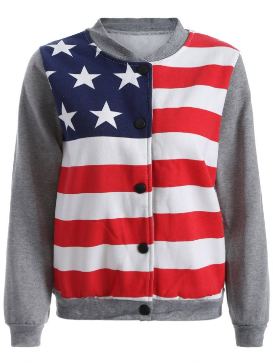 unique Flag Print Sweatshirt Jacket - GRAY M