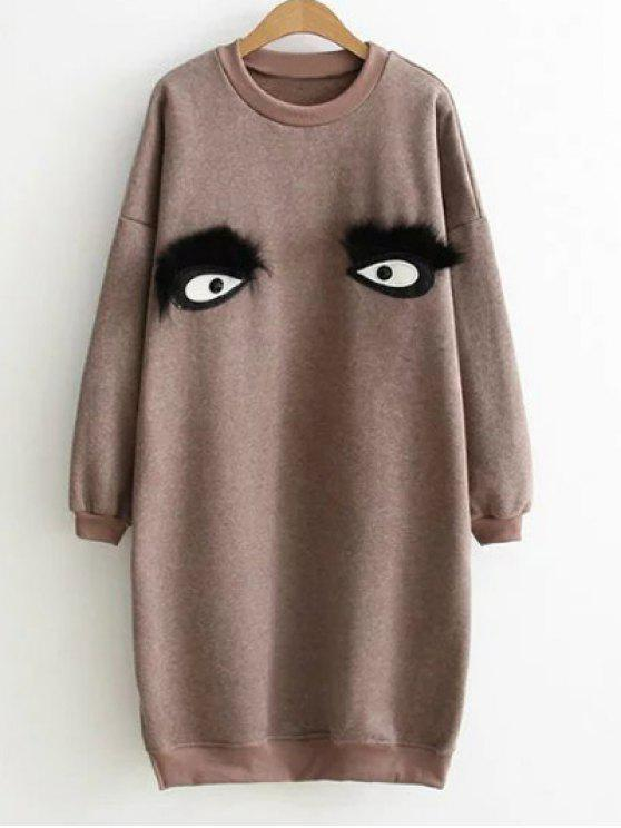women Eye Pattern Sweatshirt Dress - CAMEL ONE SIZE