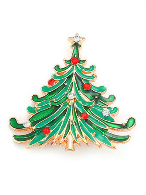 sale Rhinestone Christmas Tree Pentagram Brooch - GREEN
