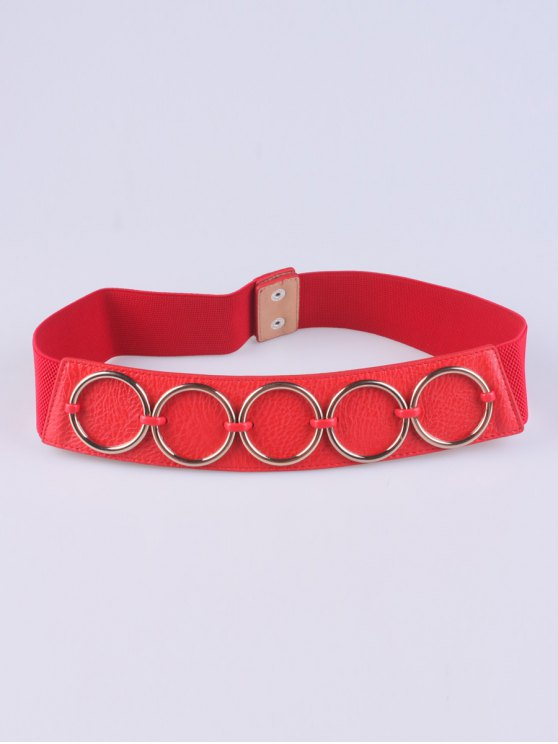 sale Tiered Matel Buckle Stretch Belt - RED
