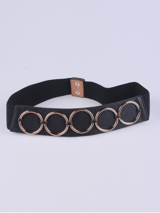 affordable Tiered Matel Buckle Stretch Belt - BLACK