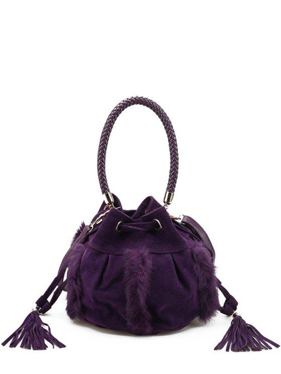 Braid Tassel Furry Bucket Bag - Pourpre
