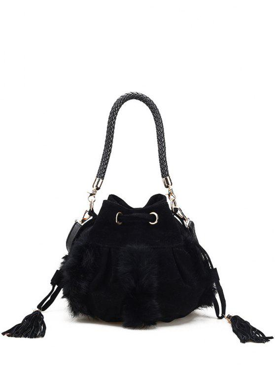 sale Braid Tassel Furry Bucket Bag - BLACK