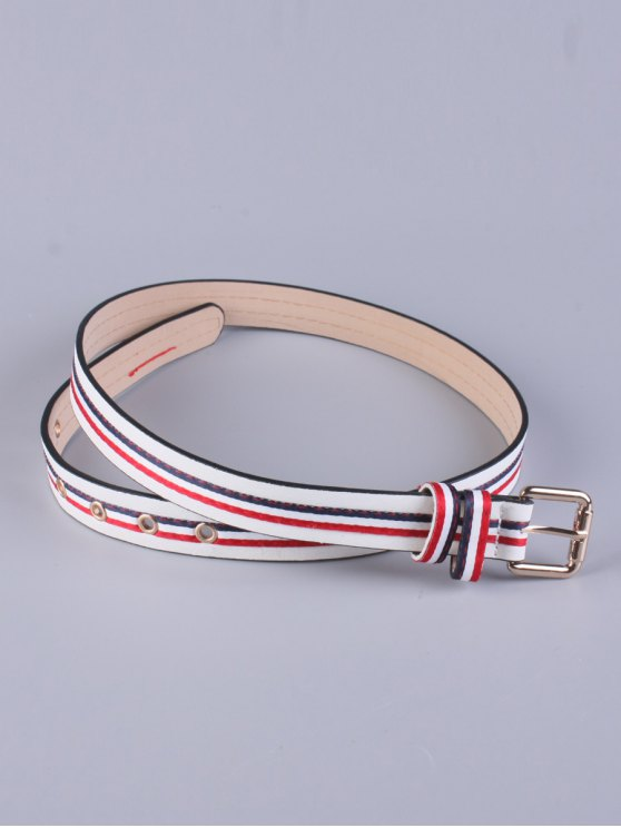 womens Multicolor Stripy Pin Buckle Belt - WHITE