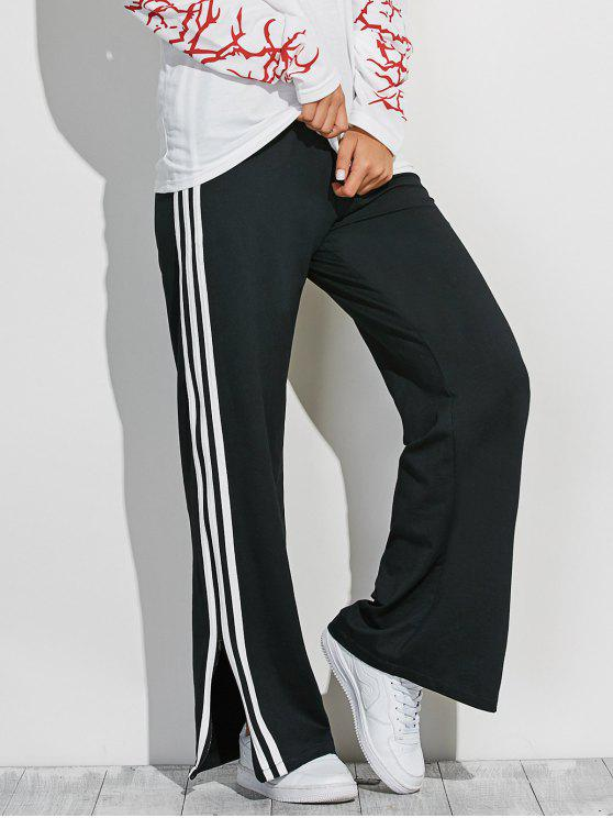new Side Slit Wide Leg Pants - BLACK ONE SIZE