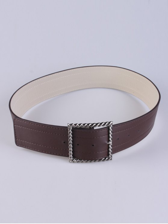 outfit Hollow Twist Square Pin Buckle Belt - COFFEE
