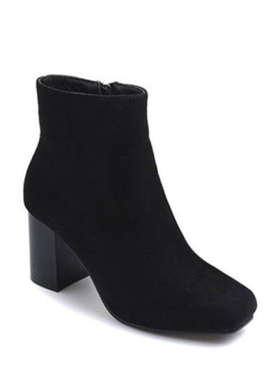 dbd772e79e3 38% OFF  2019 Square Toe Chunky Heel Zipper Ankle Boots In BLACK