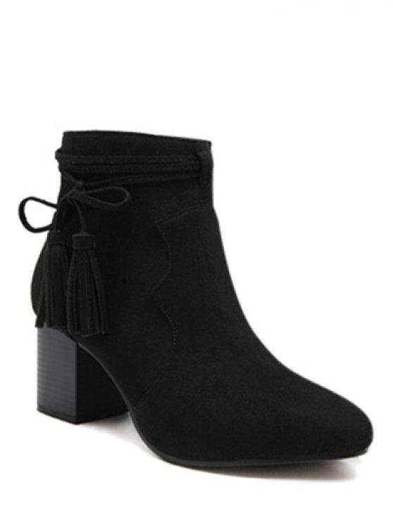 Borlas Zipper Chunky botas do tornozelo do salto - Preto 37