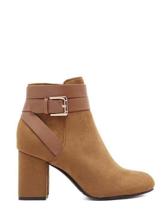 shop Buckle Chunky Heel Cross Straps Ankle Boots - BROWN 39