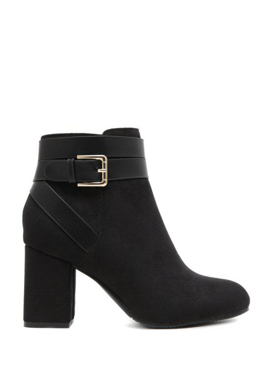 chic Buckle Chunky Heel Cross Straps Ankle Boots - BLACK 38