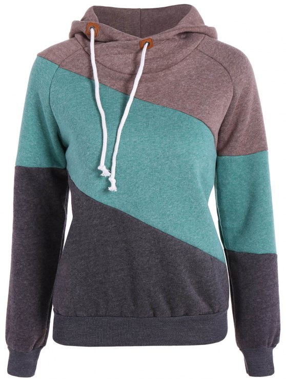lady Color Block Long Sleeve Pullover Hoodie - KHAKI M