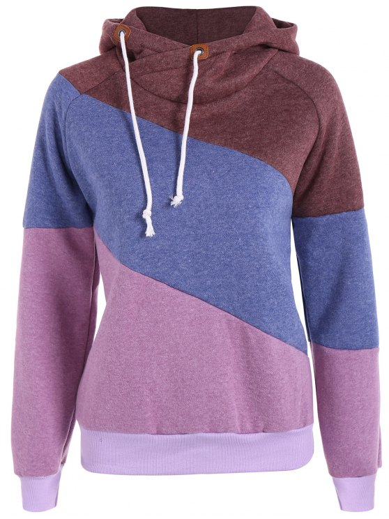 hot Color Block Long Sleeve Pullover Hoodie - PURPLE 2XL