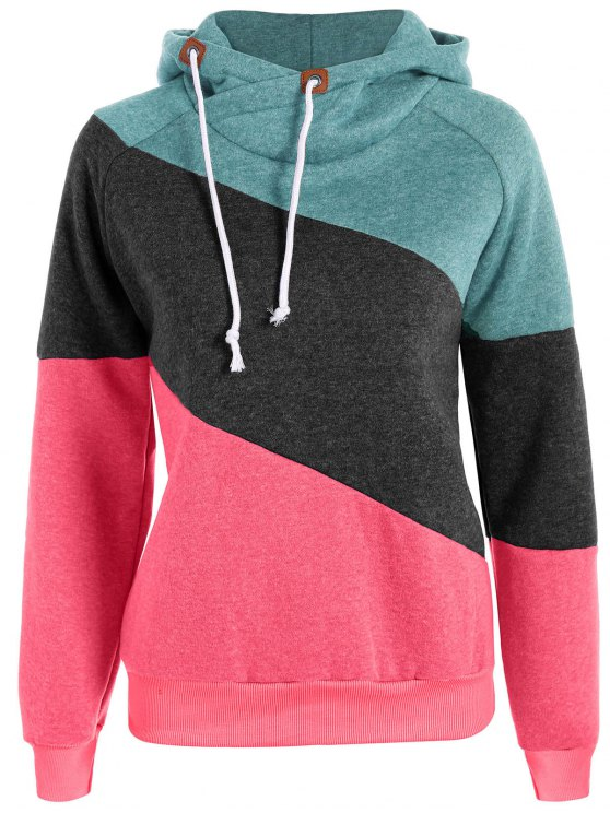 outfits Color Block Long Sleeve Pullover Hoodie - GREEN M