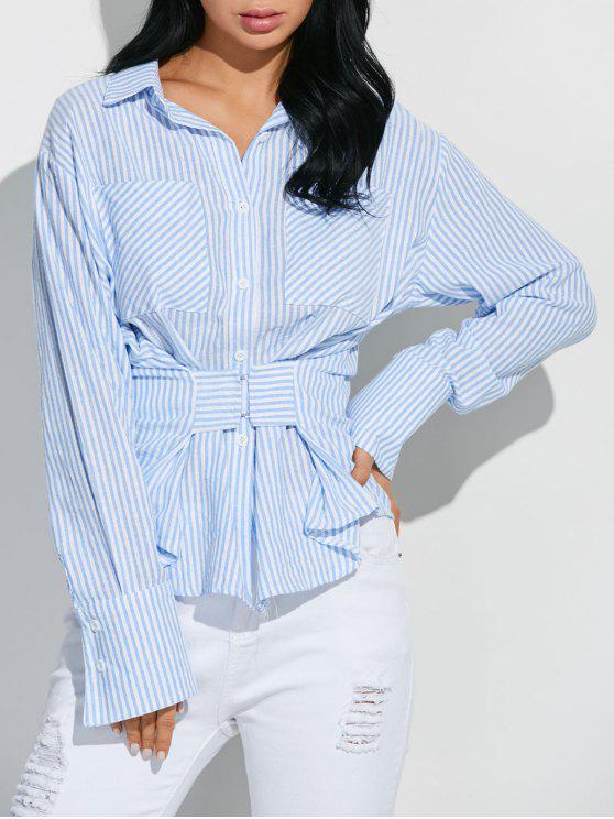 latest Striped Pocket Shirt With Hook and Eye - BLUE AND WHITE M