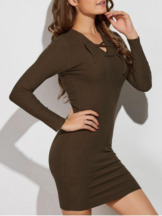 fancy Lace Up V Neck Sweater Dress - ARMY GREEN M